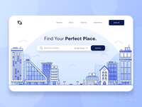 Real Estate Property Landing Page UI/UX realtor booking app vector line housing illustration hotel apartment house property business startup hero landing page blue flat 2d ux ui real estate