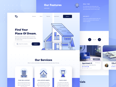 Real Estate Property Landing Page 1 line business realtor real estate ux ui landing page web design illustration blue booking rent lease flat house hotel apartment building architecture 2d
