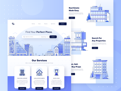 Real Estate Property Landing Page 2 business line architecture real estate blue booking property rent lease house hotel building web design landing page ux ui illustration flat apartment 2d