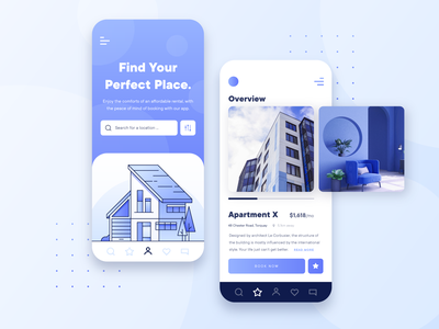 Real Estate Property UI/UX Mobile App business lease booking 2d architecture interior rent apartment building house blue flat illustration app mobile app mobile ux ui property real estate