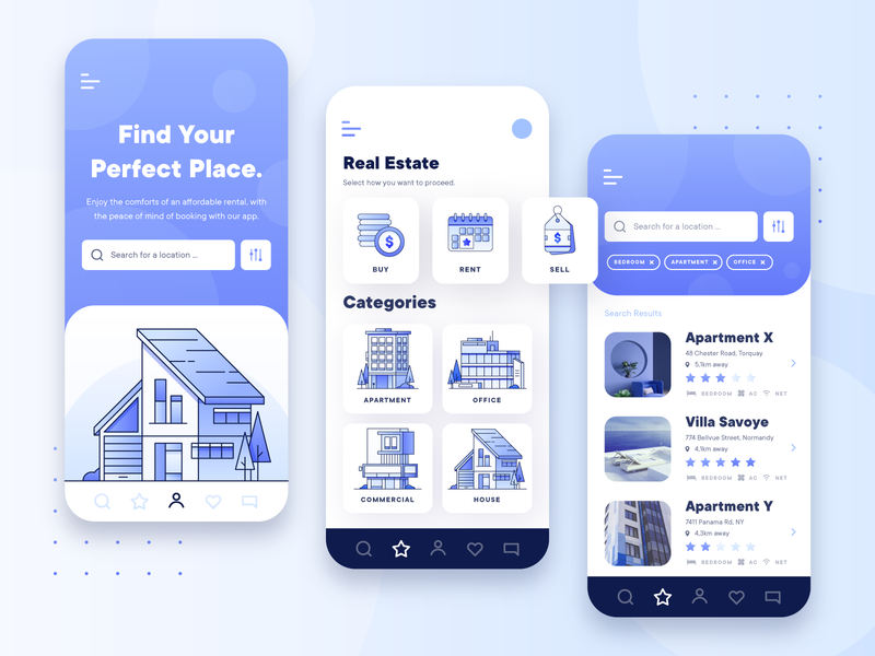 Real Estate Property UI/UX Mobile App 2 booking app property office real estate app business building interior mobile ux ui flat architecture house booking blue lease rent apartment 2d
