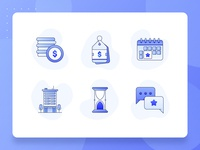 Real Estate/Property Icon 1 icon set startup time building mall apartment money business calendar pricing vector 2d flat blue illustration ux ui icon property real estate