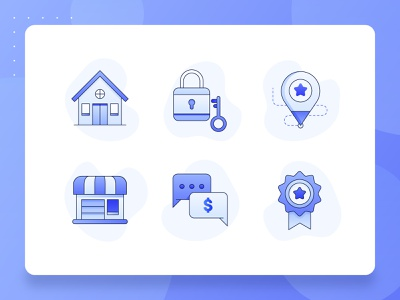 Real Estate/Property Icon 2 web design ux ui building certificate illustration startup fintech booking rent location business safety apartment house icon set icon blue property real estate