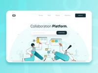 Collaboration Platform Web Design UI/UX developer software hero illustration web design gradient landing page fintech business technology startup teal blue 2d flat character illustration ux ui webdesign collaboration