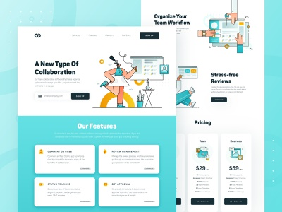 Collaboration Platform Web UI/UX modern user interface web vector icon clean startup business landing page blue flat character ux ui app platform collaboration 2d web design illustration