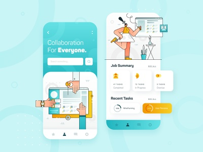 Collaboration Platform Startup UI/UX 1 productivity teamwork team mobile app design icon business startup technology vector flat 2d character blue illustration app design mobile ux ui collaboration