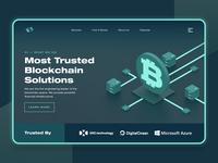 Blockchain Cryptocurrency Landing Page UI/UX money fintech crypto business startup ux ui illustration web design landing page modern dark black c4d 3d ethereum monero bitcoin cryptocurrency blockchain