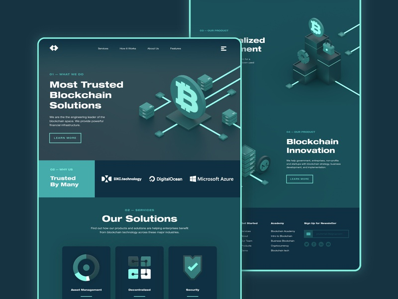 3D Blockchain/Cryptocurrency Landing Page c4d landing page money technology business startup finance web design glow modern 3d ux ui dark coin ethereum monero bitcoin blockchain cryptocurrency