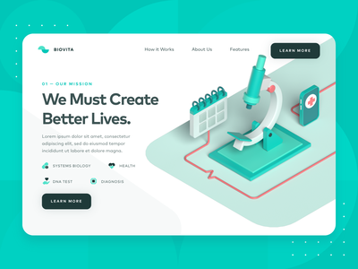 Biotech/Medical Landing Page 1 startup medical website healthy dna biology blood medic web design illustration ux ui landing page green c4d microscope syringe 3d medical health biotech
