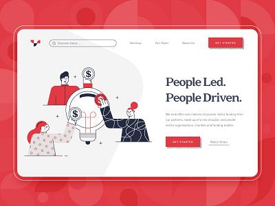 Crowdfunding Startup Landing Page 1 backing funding finance kickstart idea money crowd 2d design business startup charity character flat red illustration web design crowdfunding ux ui