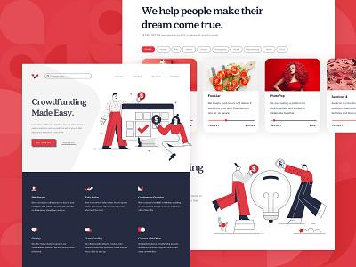 Crowdfunding Startup Landing Page 2 web design ux ui startup red money kickstart illustration idea funding flat finance design crowdfunding crowd charity character business backing 2d