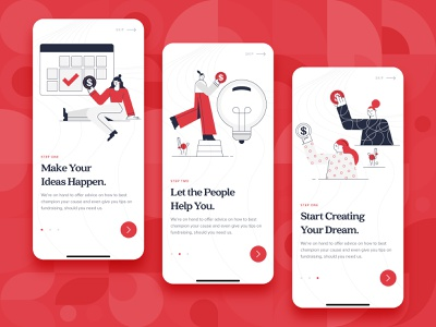 Crowdfunding App Onboarding UI/UX onboarding ux ui startup red money kickstart illustration idea funding flat finance design crowdfunding mobile mobile app character business backing 2d