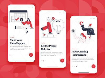 Crowdfunding App Onboarding UI/UX onboarding ux ui startup red money kickstart illustration idea funding flat finance design crowdfunding mobile mobile app character business backing 2d