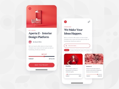 Crowdfunding App Main UI/UX interaction responsive ux ui red startup money mobile app mobile kickstart illustration idea funding flat finance design crowdfunding business backing 2d