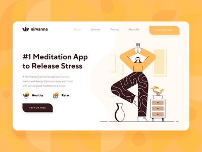 Meditation/Mindfulness Platform Landing Page startup nirvana brain health meditation app illustration stress relax yoga yellow orange flat character ux ui 2d web design landing page meditation mindfulness