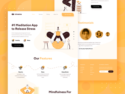 Meditation/Mindfulness Platform Landing Page 3 icon business startup website web design ux ui relax mindfulness health healthy exercise yoga meditation character flat orange yellow 2d illustration