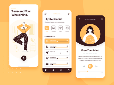 Meditation & Mindfulness UI/UX App business icon startup illustration exercise health yoga relax mobile onboarding meditation app interaction ux ui 2d flat character orange mindfulness meditation