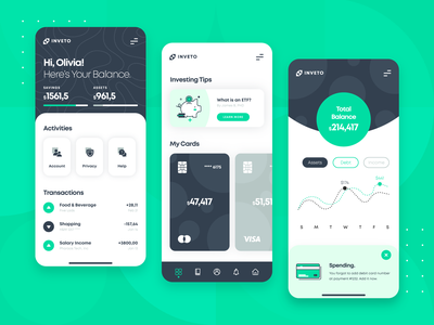 Fintech Banking Investing App UI/UX financial investment investing startup icon illustration flat green money budgeting banking blockchain fintech finance app 2d ux ui user interaction mobile