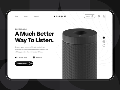 Claruss - Bluetooth Speaker Landing Page UI/UX Animation music sound audio wireless loudspeaker speaker system web app modern minimal c4d ux ui interaction 3d animation product design speaker bluetooth speaker landing page web design