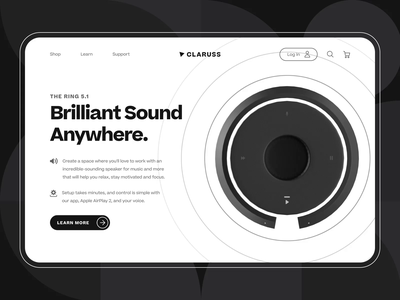 Claruss - Smart Bluetooth Speaker Landing Page UI/UX Animation 2 c4d startup music black ux ui web design loudspeaker sound system audio illustration 3d motion graphic animation bluetooth speaker wireless speaker product design artificial intelligence smart speaker