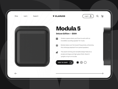 Claruss - Smart Bluetooth Speaker Product Page UI/UX ecommerce audio artificial intelligence ai product design startup ux ui web design landing page black music sound sound system home speaker speaker wireless bluetooth speaker 3d c4d