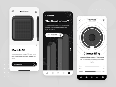 Claruss - Bluetooth Speaker Main UI/UX App Screen ecommerce minimal interaction modern black illustration c4d 3d app mobile ux ui sound system speaker bluetooth wireless audio startup sound music