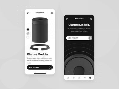 Claruss - Bluetooth Speaker Main UI/UX App Screen 2 minimal speakers product screen startup ux ui ecommerce app mobile c4d 3d black bluetooth system sound music audio headphone speaker wireless