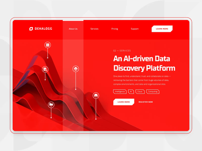 Dekalogg - Data Analytics Marketing AI UI/UX advertising icon clean statistic fintech commerce business analytics big data data artificial intelligence marketing c4d 3d motion graphic landing page web design ux ui red