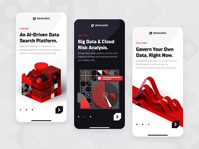 Dekalogg - Data Analytics Marketing AI Mobile UI/UX 2 clean marketing advertising ux ui mobile fintech business app onboarding big data chart statistics c4d 3d dark red black analytics data