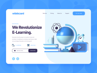 Wideboard: E-Learning Course Platform Landing Page 1 productivity book university discover study startup clean illustration landing page ux ui 3d blue academy tutorial online course education learning e-learning