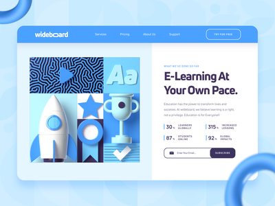 Wideboard: E-Learning Course Platform Landing Page 2 e learning startup productivity academy landing page c4d online learning online course university education black web design ux ui trophy rocket 3d blue e-learning