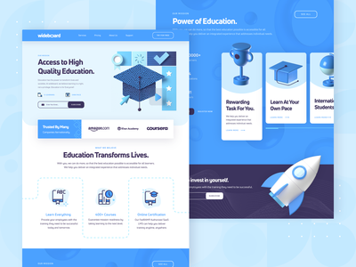 Wideboard: E-Learning Education Landing Page 3 productivity icon web design rocket smart startup academy black blue 3d ux ui landing page tutorial online course e-learning education online learning university