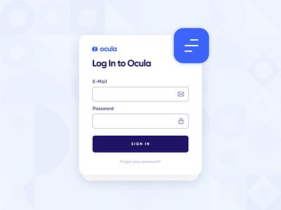 Ocula — UI/UX Login Screen Interaction 1 modern fintech startup business clean register sign up blue 2d animation icon web design interaction button form ocula ux ui screen login
