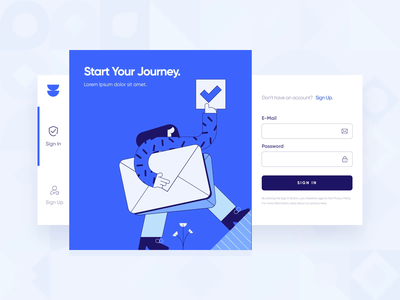 Ocula — UI/UX Login Screen Interaction 2 user interface responsive icon register sign up sign in form button interaction web design mobile productivity blue animation motion graphics 2d ux ui startup modern