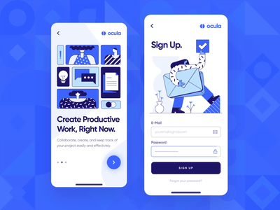Ocula — UI/UX Login Screen Interaction 3 icon microinteraction interaction startup productivity ux ui app onboarding illustration flat 2d blue sign up sign in register login mobile animation user interface