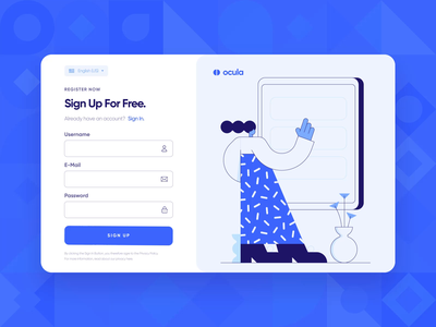 Ocula — UI/UX Login Screen Interaction 4 button form microinteraction success onboarding sign in register sign up login flat blue productivity startup web web design motion graphics animation 2d ux ui