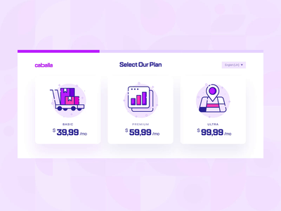 Caballa — Payment Checkout UI/UX Interaction 2 saas online shop form illustration 2d flat purple shoping startup finance icon animation interaction ux ui web design commerce ecommerce checkout payment