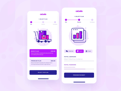Caballa — Pricing/Payment Checkout Mobile UI/UX 4 vector interaction startup ecommerce shopping animation credit card checkout icon illustration purple flat 2d ux ui app finance payment pricing mobile