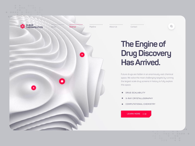 Albus Therapeutics - Web UI/UX Interaction 1 illustration startup red protein chemistry medicine molecule animation web design white 3d ux ui medical healthcare biology dna biotech science drug