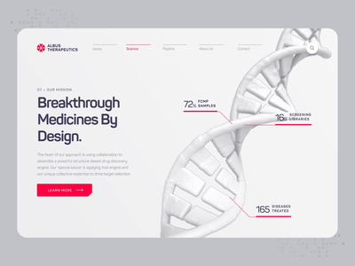 Albus Therapeutics - Web UI/UX Interaction 3 illustration red white animation ux ui 3d web design pharmaceutical health medical medicine drug drug discovery biotech science biology chemistry protein dna
