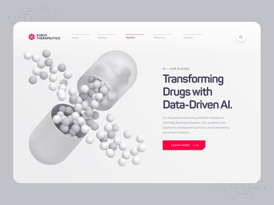 Albus Therapeutics - Web UI/UX Interaction 4 healthcare science pill animation illustration 3d ux ui web design startup biotech biology chemistry protein dna white health medical pharma drug