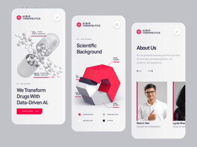 Albus Therapeutics - Mobile Landing Screen UI/UX chemistry health startup pharma medical dna pill drug biology biotech science illustration 3d animation mobile ux ui white red healthcare