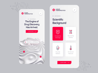 Albus Therapeutics - Mobile UI/UX Interaction 1 dna illustration healthcare pharma white animation ux ui mobile 3d red pill drug biotech startup medical health science biology chemistry