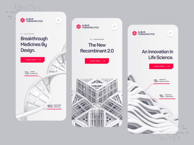 Albus Therapeutics - Mobile UI/UX Interaction 2 chemistry white red ux ui health pharma pill drug medical medicine protein biology biotech science animation mobile illustration 3d dna