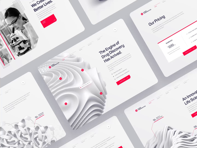 Albus Therapeutics - Web UI/UX Overview 2 landing page molecule animation pharma chemistry white red 3d ux ui web design protein dna health medical biology biotech ai science drug