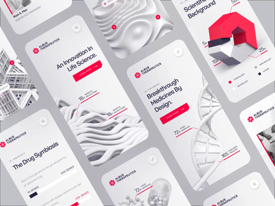 Albus Therapeutics - Mobile UI/UX Overview 1 medical health animation chemistry pill protein dna 3d white red pharma drug cancer cell science biology biotech ux ui mobile
