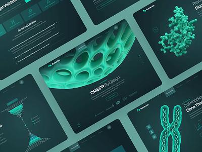 Flumen Bioscience — Web UI/UX Overview 1 green biology chemistry cancer pharma medical animation ux ui illustration web design 3d dark protein dna crispr technology science health biotech