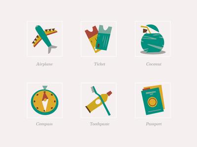 Travel Icons (Midcentury Modern Style)