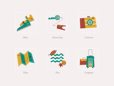 Travel Icons #2 (Midcentury Modern Style)