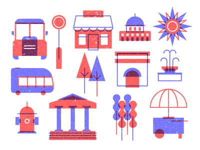 City Icons (Urban Icons) #1 illustration city illustration city life urban life sun icon car icon tree tree icon street icon sign icon shop icon fountain icon bus building icons street food transportation transport icons park icons urban icons city icons
